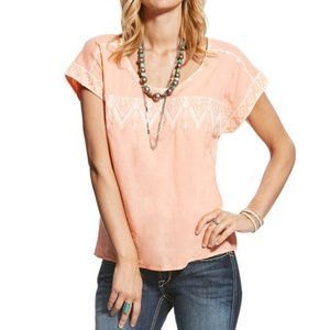 Ariat Lightweight Embroidered Tamera Top, Peach Amber Small